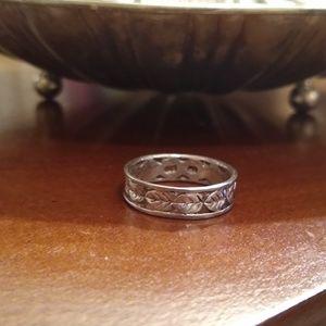 Vintage Eternity band Sterling leaf wedding ring